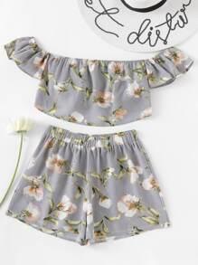 Top con stampa botanica con pantaloncini