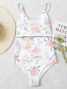 Calico Print Drop Arm Low Back Swimsuit