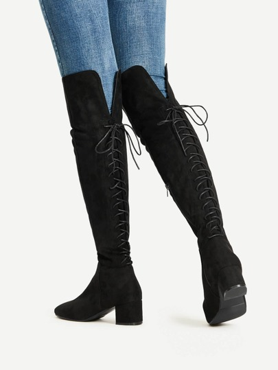 Lace Up Over The Knee Boots