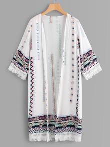 Tribal Print Tassel Trim Detail Kimono