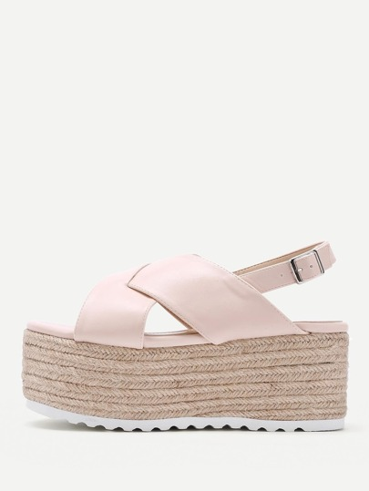 Cross Strap Slingback Platform Wedges