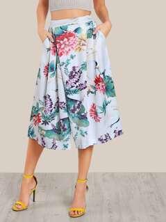 Floral Print Wide Leg Capri Pants GREEN