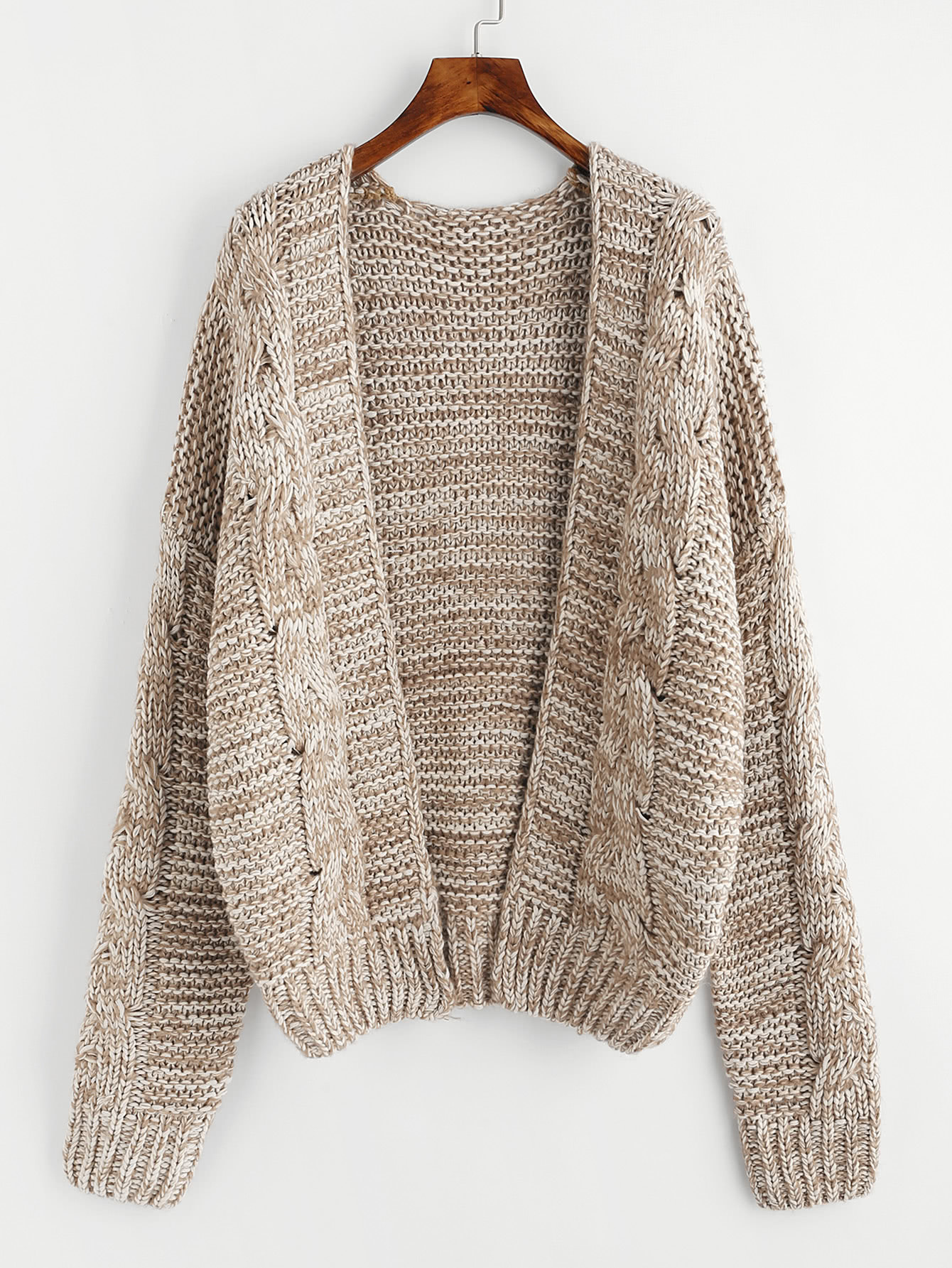 Marled Cable Knit Sweater Coat -SheIn(Sheinside)