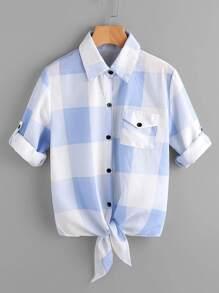 Check Plaid Roll Tab Sleeve Knotted Shirt