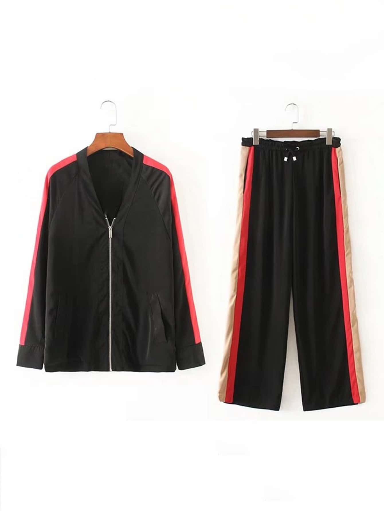 Raglan Sleeve Striped Side Coat With Drawstring Pants twopiece170810201