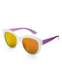 Two Tone Frame Flash Lens Sunglasses