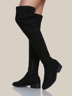 Over The Knee Flat Boots BLACK