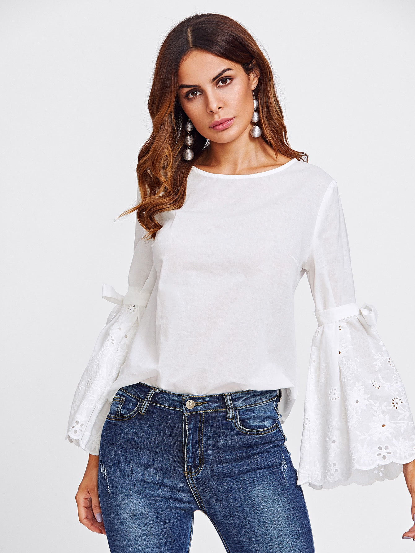 Belted Eyelet Embroidered Fluted Sleeve Top eyelet embroidered self belted dress