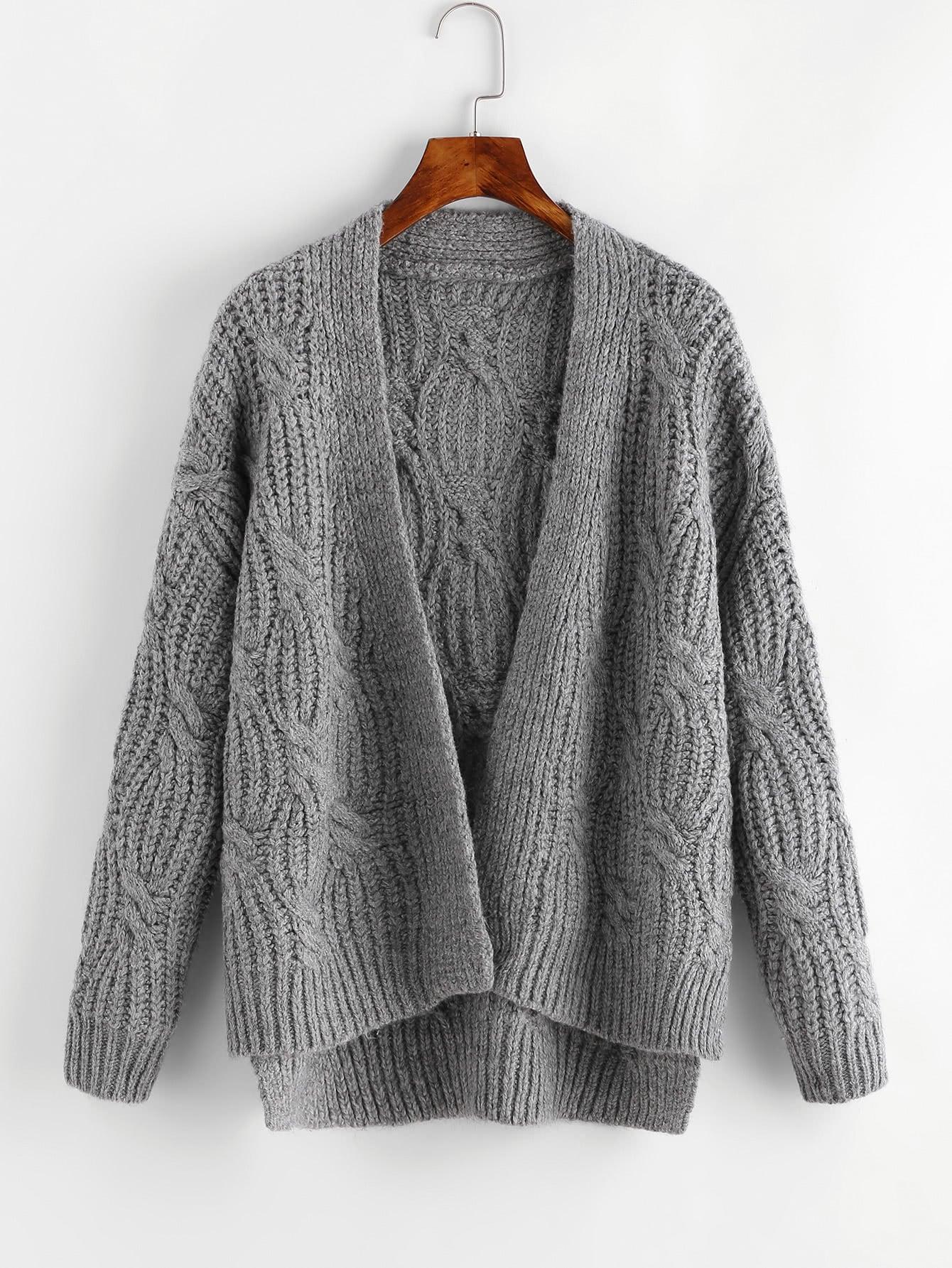 Cable Chunky Knit Cardigan -SheIn(Sheinside)