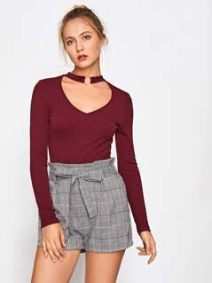 O-Ring Choker Neck Ribbed Knit Top