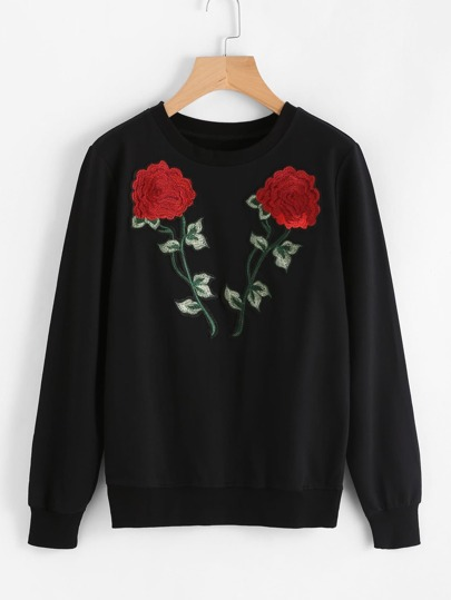Sweatshirt mit Rose Stickereien und Applikationen