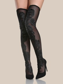 Floral Embroidered Mesh Thigh High Heels BLACK