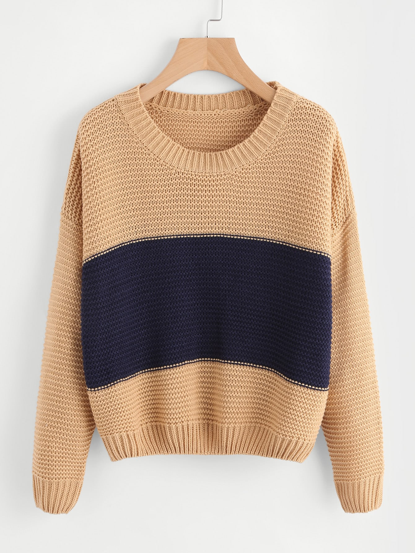 Ribbed Trim Two Tone Jumper sweater170804460