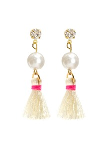 Tassel Drop Earrings With Jewelry Detail