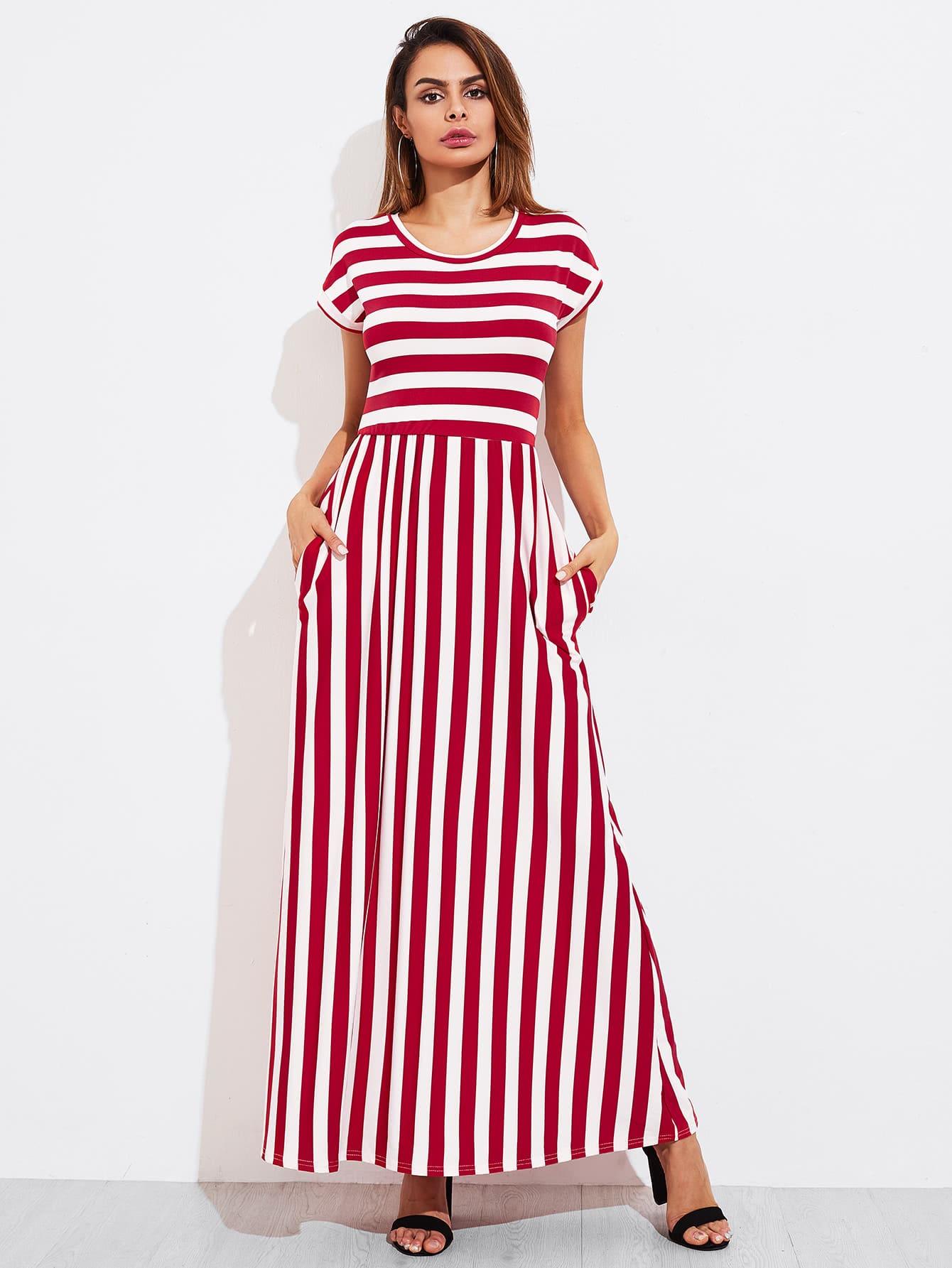 Contrast Striped Full Length Dress full length tee dress