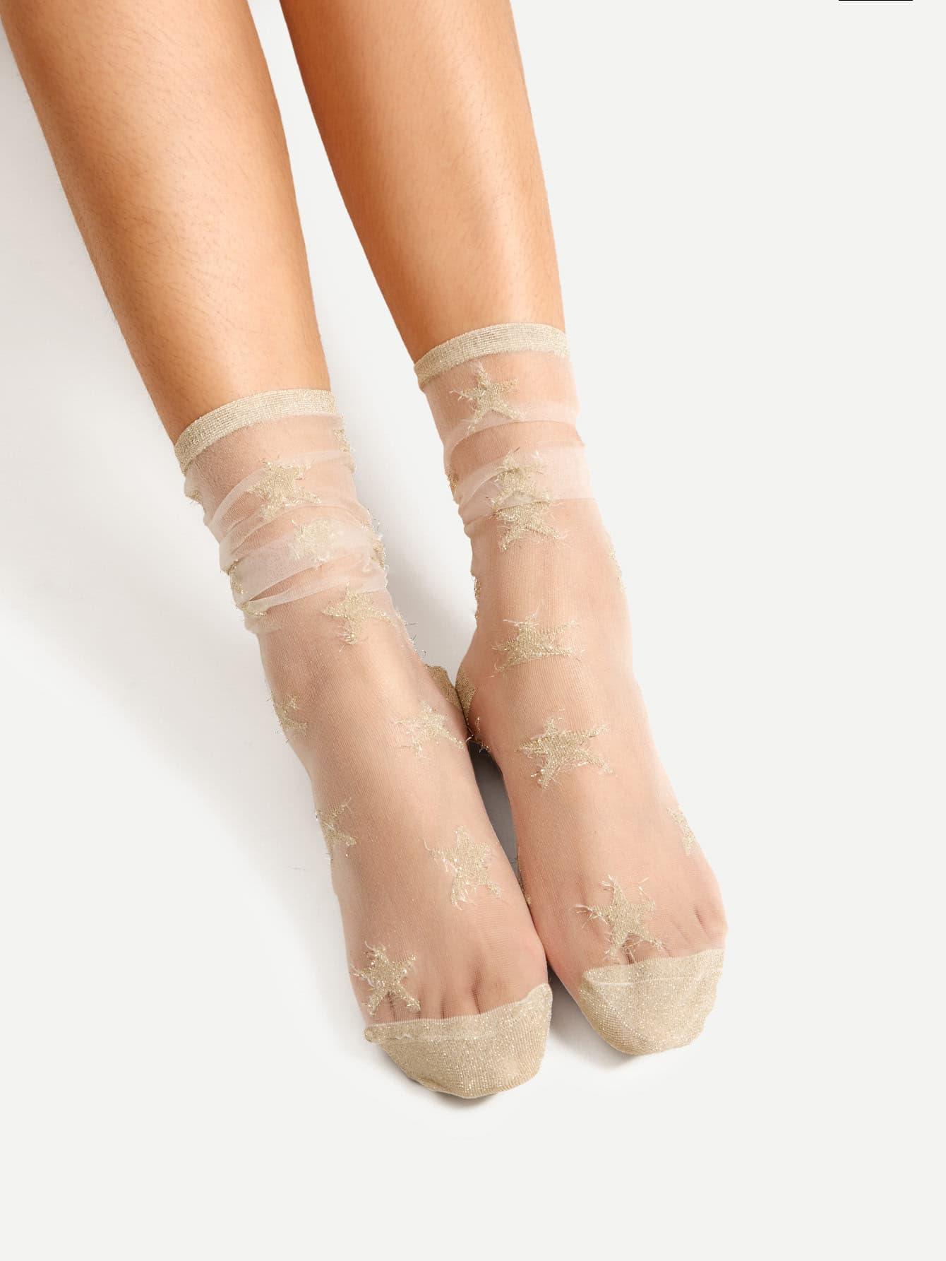 Star Pattern Mesh Ankle Socks sock170817301