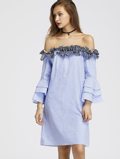 Contrast Frill Bardot Tiered Flute Sleeve Striped Dress