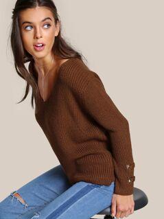 V Neck Ribbed Knitted Top CAMEL