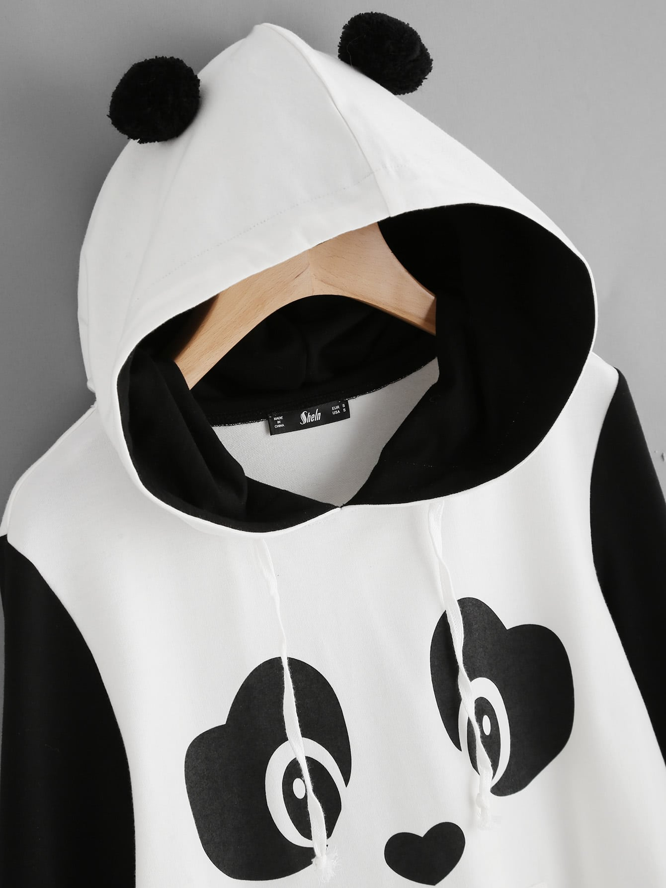 panda print pom pom detail hoodie shein sheinside