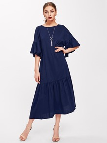 فستان حافة مزين أكمام البوق