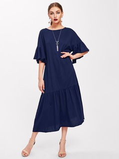 Trumpet Sleeve Tiered Hem Dress