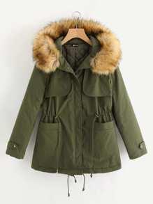 Manteau encapuchonné avec garniture de fourrure fausse