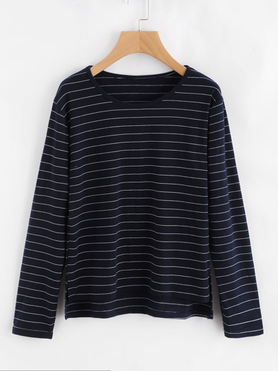Striped Dip Hem Split Side Tee