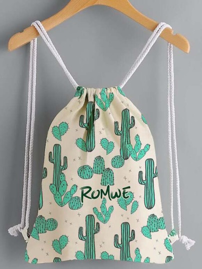 Cactus Print Drawstring Canvas Backpack