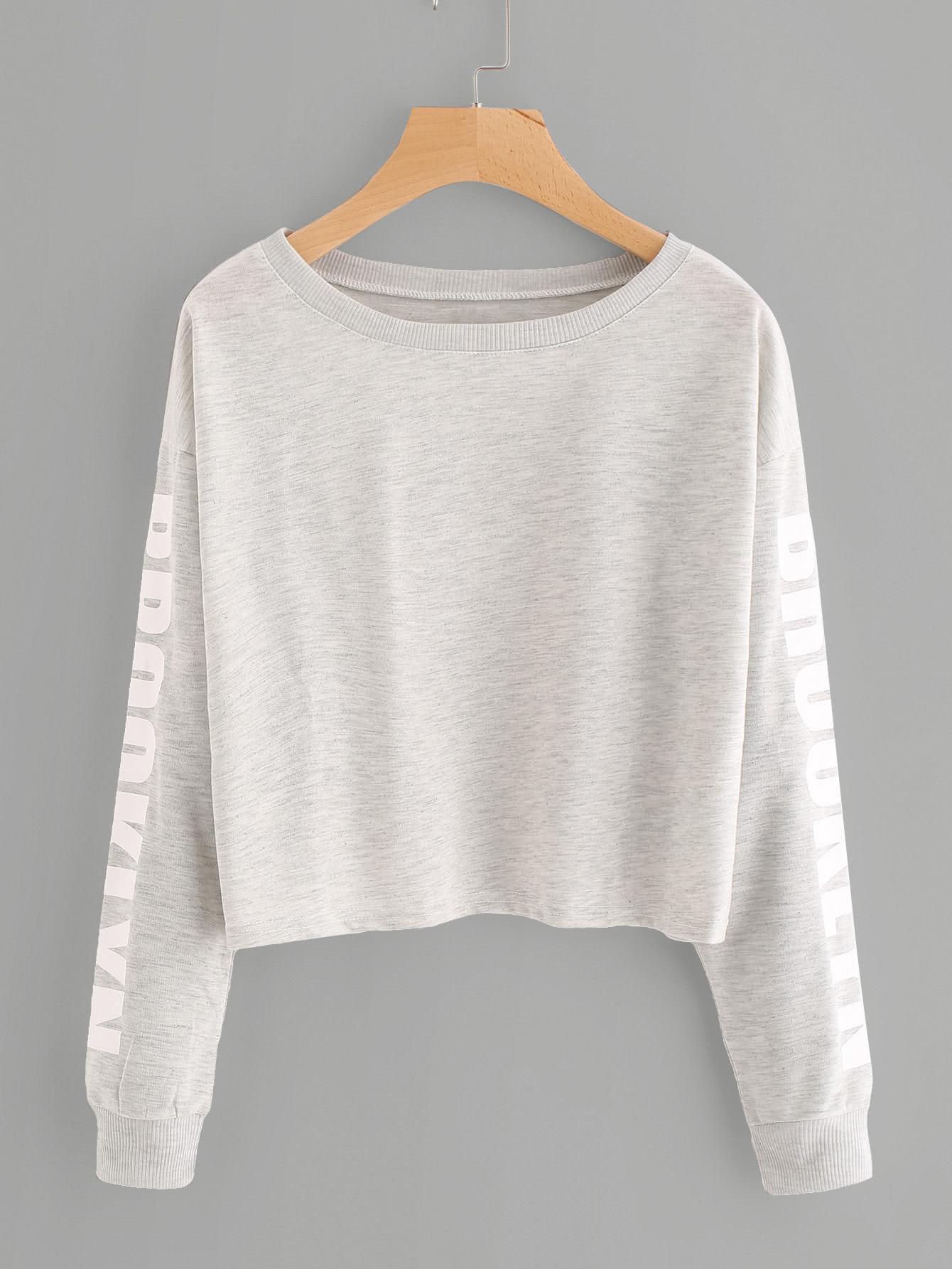 Drop Shoulder Letter Print Marled Crop Sweatshirt drop shoulder letter print sweatshirt