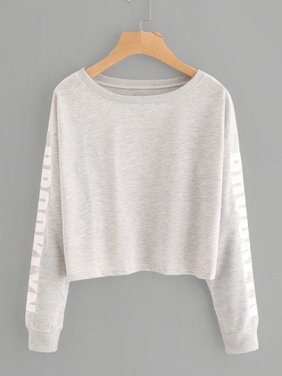 Drop Shoulder Letter Print Marled Crop Sweatshirt