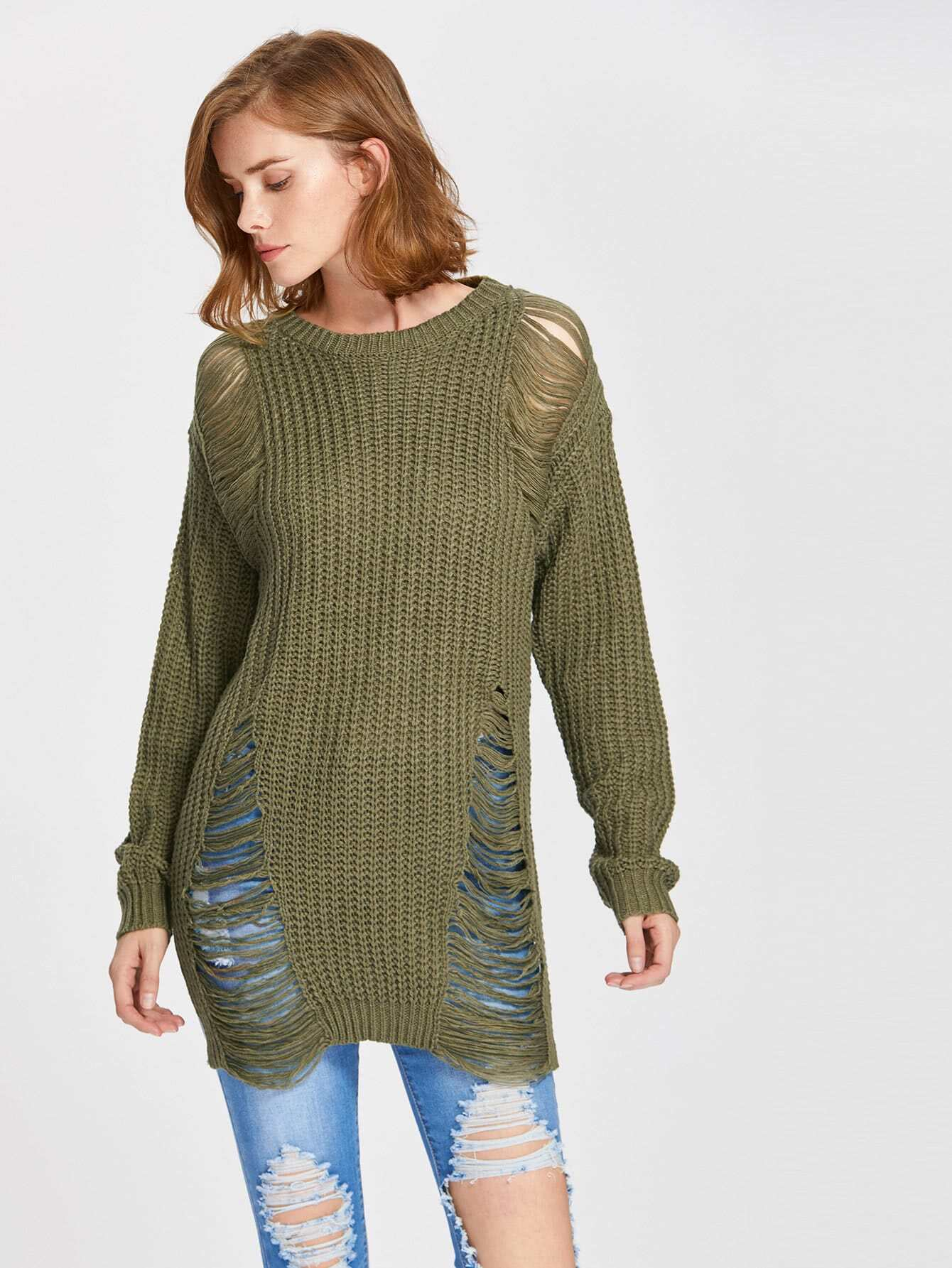 Side Slit Laddering Jumper sweater170704465