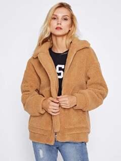 Drop Shoulder Oversized Fleece Jacket   MakeMeChic.COM