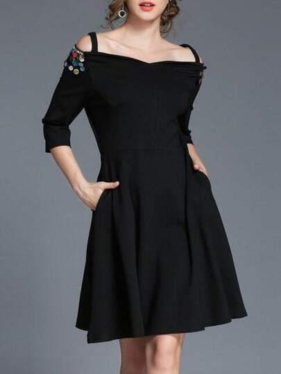 Open Shoulder Sequined A-Line Dress