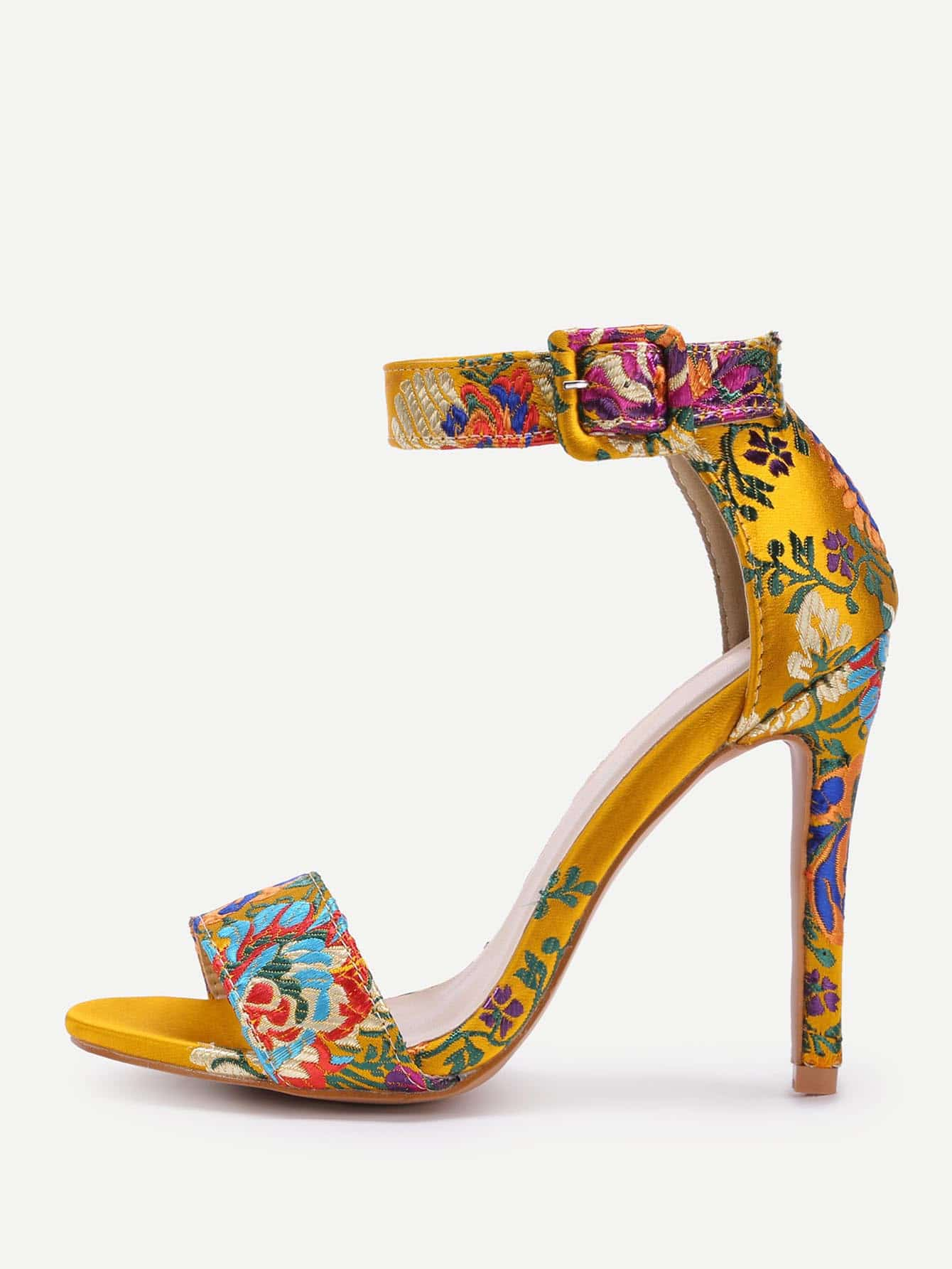 Flower Pattern Ankle Strap High Heel Sandals shoes170825332