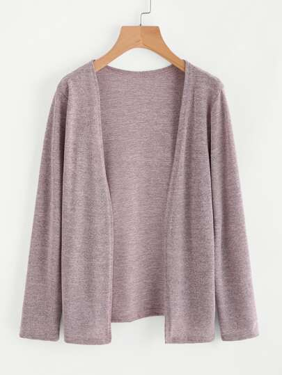 Open Front Marled Knit Cardigan