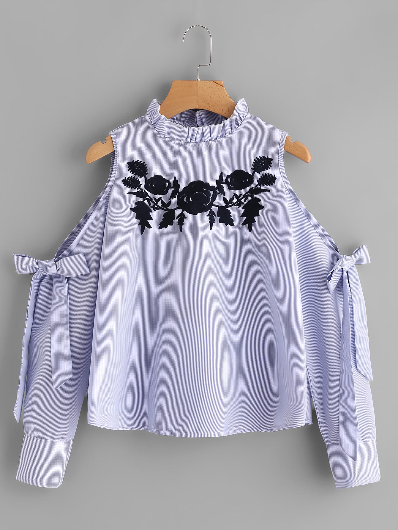 Pinstriped Open Shoulder Tie Detail Embroidery Blouse drop shoulder grommet tie detail sweatshirt