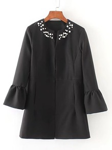 Bell Sleeve Pearls Embellished Top
