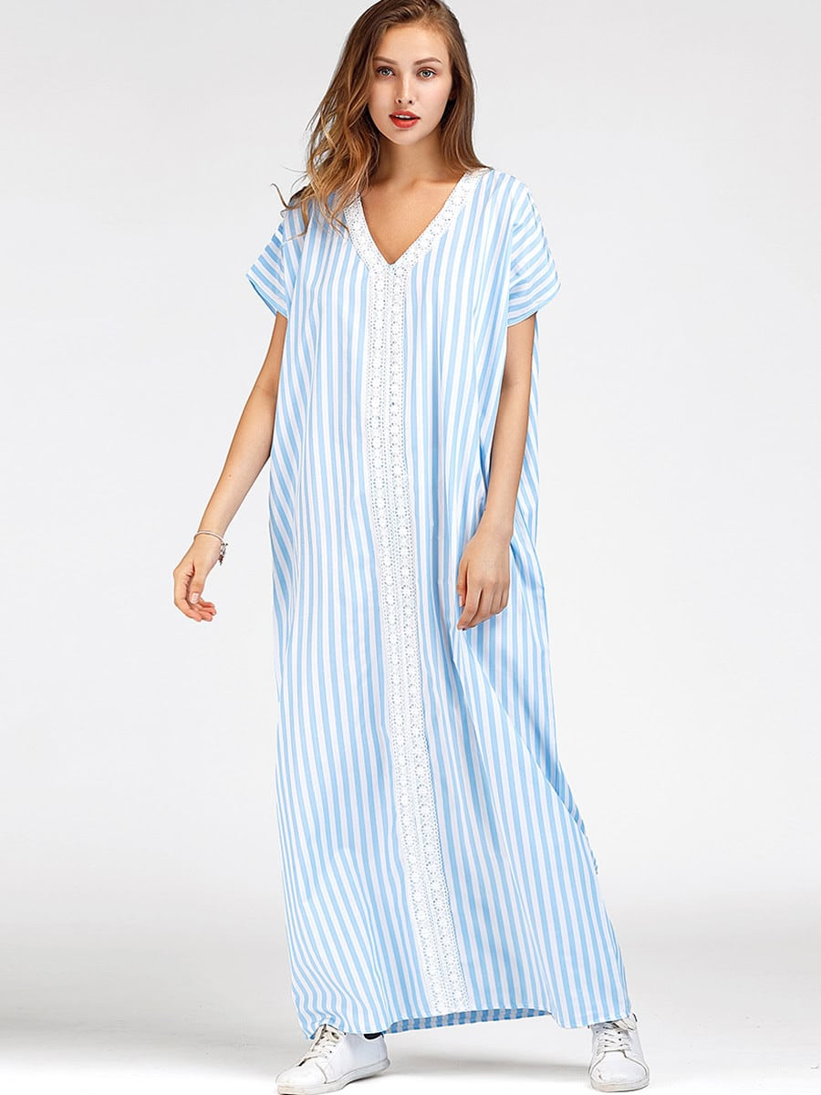 robe de la plage rayures en crochet en dentelle french shein sheinside. Black Bedroom Furniture Sets. Home Design Ideas
