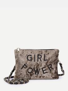 Letter Embroidered Velvet Crossbody Bag