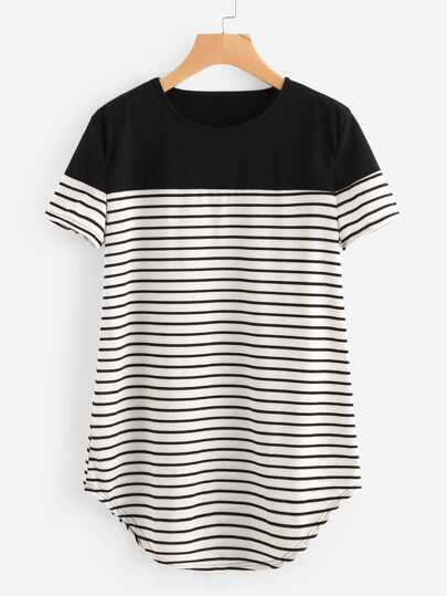 Contrast Panel Curved Hem Striped Longline Tee