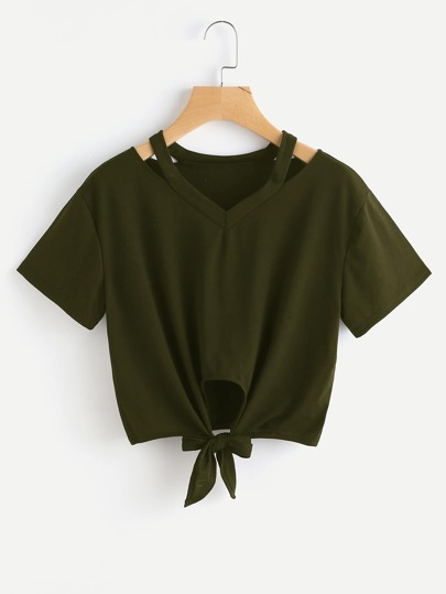 Cut Out V Neckline Knot Front Tee
