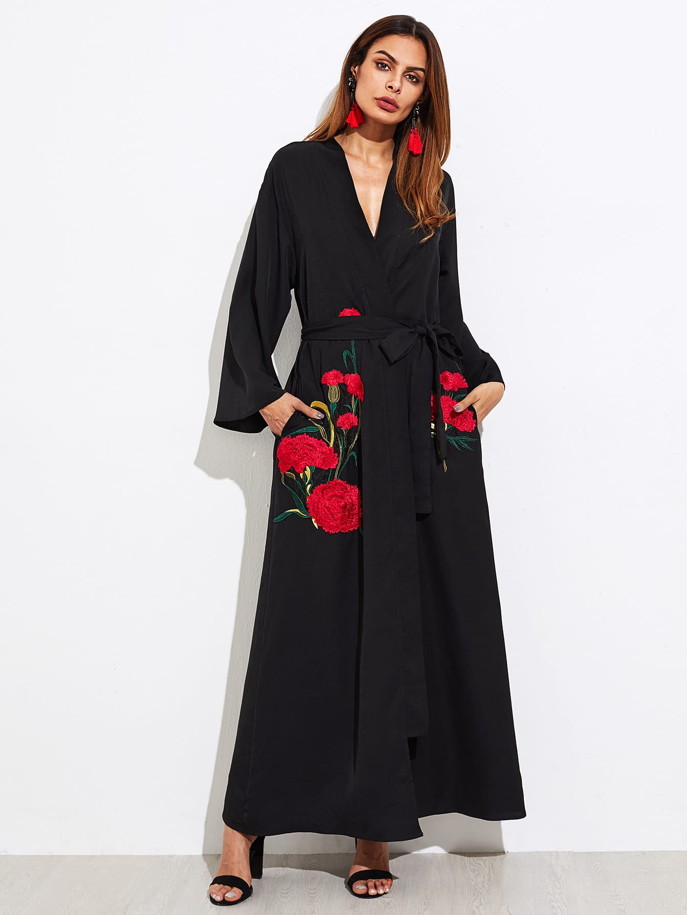 Carnations Embroidered Self Tie Abaya