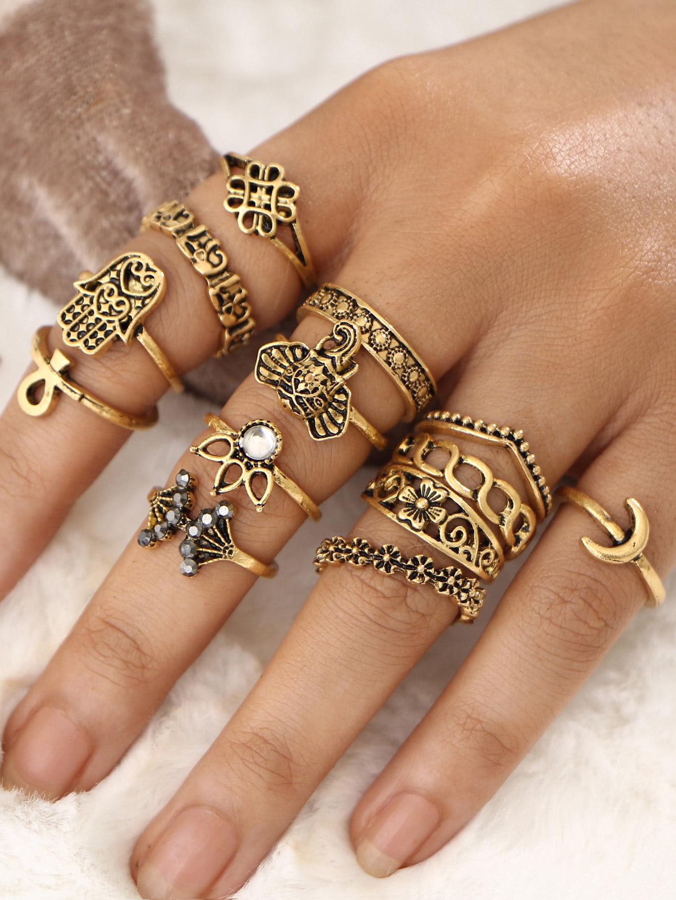 Корона и цветок дизайн кольцо набор 13шт