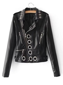 Eyelet Design Oblique Zipper Moto Jacket