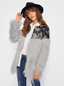 Floral Jacquard Shoulder Faux Fur Coat