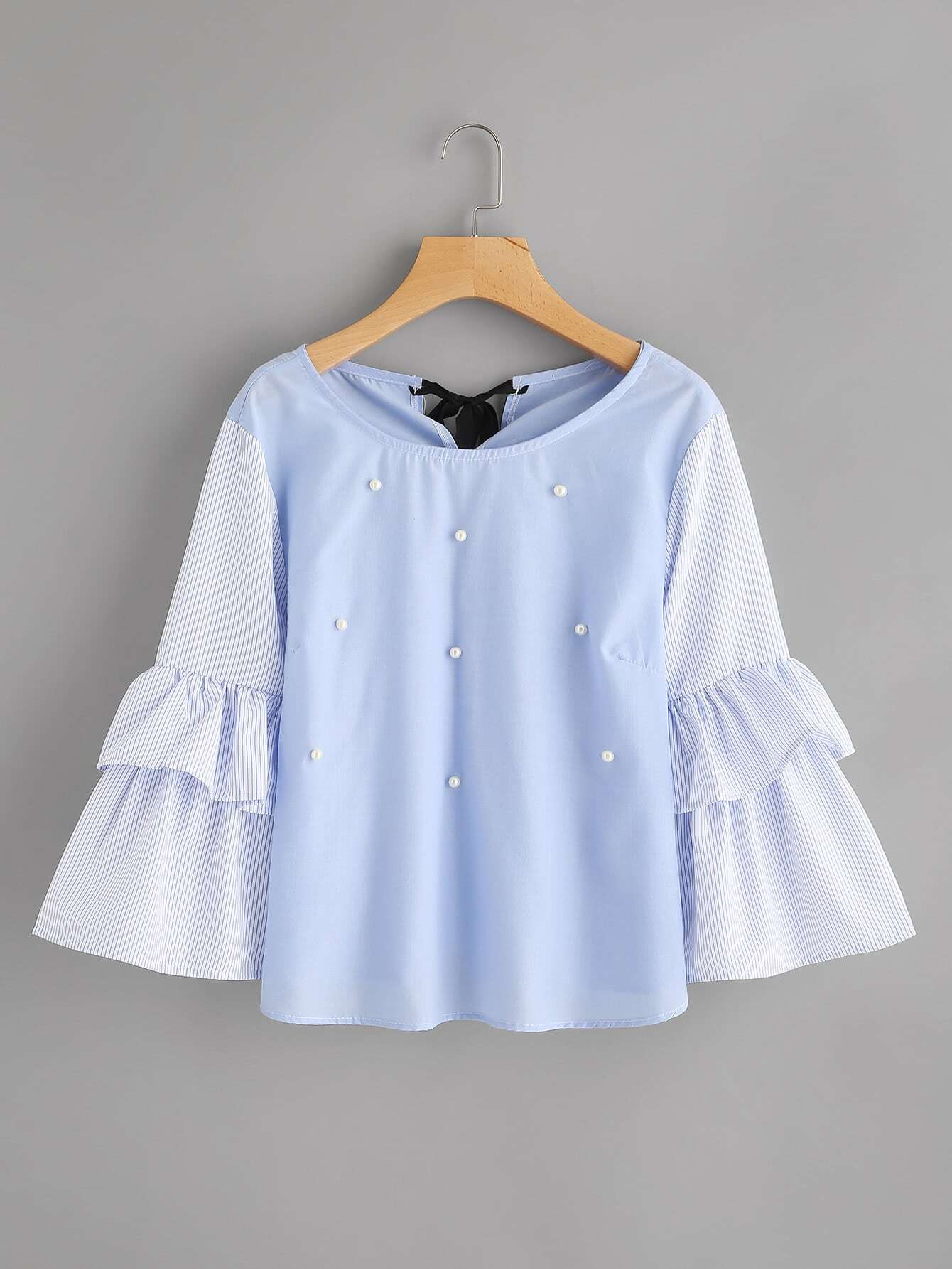 Contrast Striped Frill Sleeve Tie Back Pearl Beading Blouse аксессуар 5bites 3 5 jack m 3 5 jack m ac35j 050m 5m