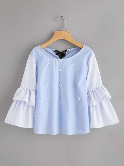 Contrast Striped Frill Sleeve Tie Back Pearl Beading Blouse
