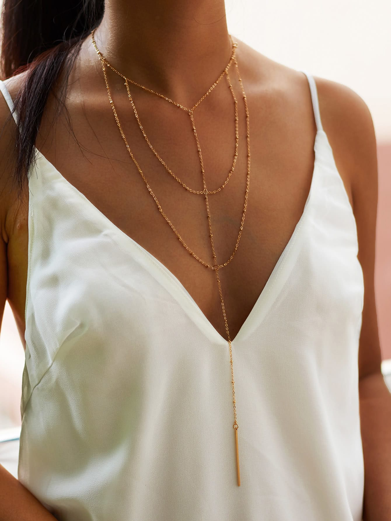 Bar Drop Layered Chain Necklace round drop chain necklace