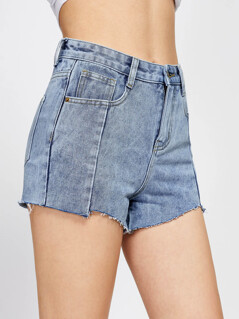 Cloud Wash Raw Hem Denim Shorts