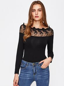 Embroidered Mesh Neck Slim Fit Tee